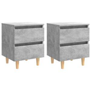 2 Mesas cabeceira c/ pernas pinho 40x35x50cm cinza cimento - PORTES GRÁTIS