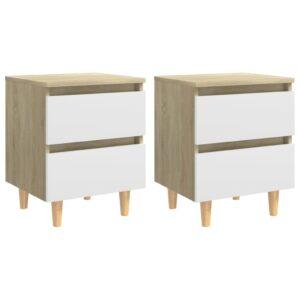 2 Mesas cabeceira pernas pinho 40x35x50cm branco/carv.sonoma  - PORTES GRÁTIS