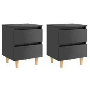 2 Mesas cabeceira pernas de pinho 40x35x50cm cinza brilhante - PORTES GRÁTIS