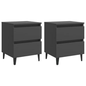 2 Mesas cabeceira 40x35x50 cm contraplacado cinzento - PORTES GRÁTIS