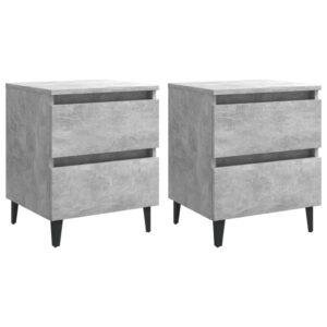 2 Mesas cabeceira 40x35x50 cm contrapl. cinzento cimento - PORTES GRÁTIS