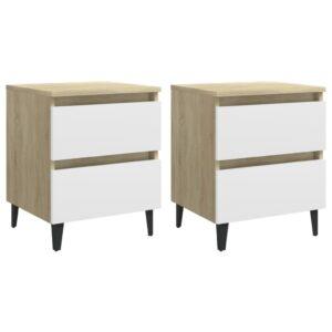 2 Mesas cabeceira 40x35x50 cm contrapl. branco/carv. sonoma - PORTES GRÁTIS