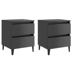 2 Mesas cabeceira 40x35x50 cm contrapl. cinza brilhante - PORTES GRÁTIS