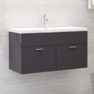 Armário lavatório + lavatório embutido contrap. cinza brilhante - PORTES GRÁTIS