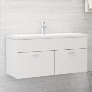 Armário de lavatório c/ lavatório embutido contraplacado branco - PORTES GRÁTIS