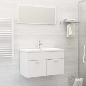 Conjunto de móveis de casa de banho contraplacado branco - PORTES GRÁTIS