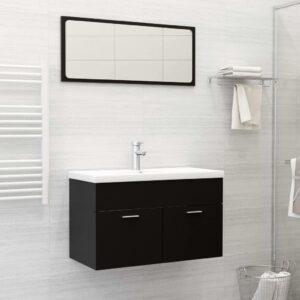 Conjunto de móveis de casa de banho contraplacado preto - PORTES GRÁTIS