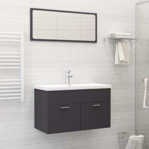 Conjunto de móveis de casa de banho contraplacado cinzento - PORTES GRÁTIS