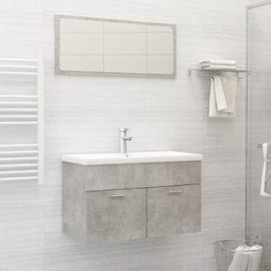 Conjunto móveis casa de banho contraplacado cinzento cimento - PORTES GRÁTIS