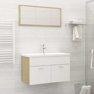 Conj. móveis casa de banho contraplacado branco/carvalho sonoma - PORTES GRÁTIS