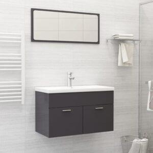 Conj. de móveis de casa de banho contraplacado cinza brilhante - PORTES GRÁTIS