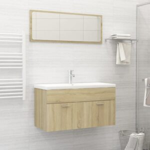 Conjunto móveis casa de banho contraplacado carvalho sonoma - PORTES GRÁTIS