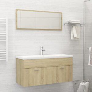 Conjunto móveis casa de banho contraplacado cor carvalho sonoma - PORTES GRÁTIS