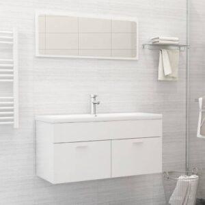 Conj. de móveis de casa de banho contraplacado branco brilhante - PORTES GRÁTIS