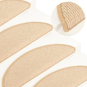 Tapete/carpete para degraus 15 pcs 65x21x4 cm cor creme - PORTES GRÁTIS