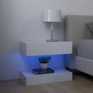 2 Mesas cabeceira c/ LEDs  60x35 cm contrapl. branco - PORTES GRÁTIS