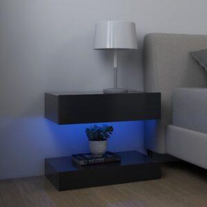 2 Mesas cabeceira 60x35 cm contraplacado cinzento - PORTES GRÁTIS