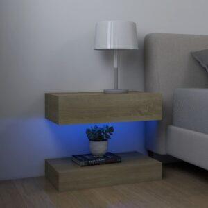 2 Mesas cabeceira 60x35 cm contraplacado carvalho sonoma - PORTES GRÁTIS