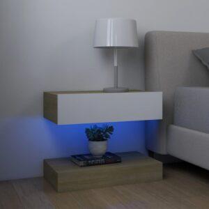 2 Mesas cabeceira  60x35 cm contrapl. branco/carvalho sonoma - PORTES GRÁTIS