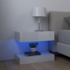 2 Mesas cabeceira 60x35 cm contraplacado branco brilhante - PORTES GRÁTIS