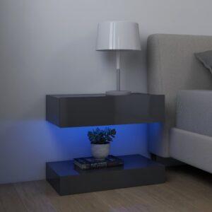 2 Mesas cabeceira 60x35 cm contraplacado cinza brilhante - PORTES GRÁTIS