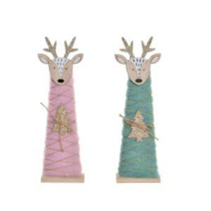 2 Figuras Decorativas DKD Home Decor Natal Poliéster Madeira Rena (8.5 x 4.5 x 28.5 cm)
