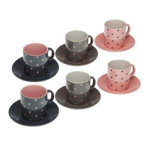 Conjunto de 6 chávenas com pires Corações Cerâmica (12 Peças