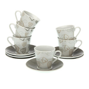 Conjunto de 6 Chávenas de Café Cozy Corações Porcelana