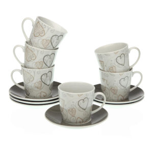 Conjunto de 6 chávenas com pires Cozy Corações Porcelana