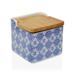 Saleiro com Tampa Aveiro Bambu Azulejo Cerâmica (12,3 x 11,5 x 12,3 cm)