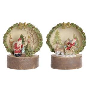2 Adornos Natalícios DKD Home Decor Castanho Verde LED Pai Natal