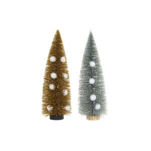 2 Árvores de Natal DKD Home Decor Poliéster Madeira Pompons (10 x 10 x 30 cm)