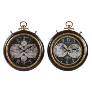 2 Relógios de Parede DKD Home Decor Preto Metal Madeira MDF  (42 x 8 x 52 cm)
