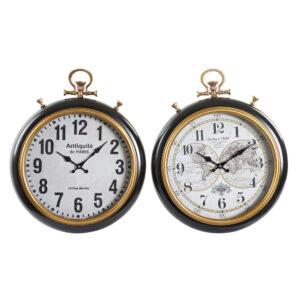 2 Relógio de Parede DKD Home Decor Branco Preto Metal Madeira MDF 42 x 6 x 51 cm)