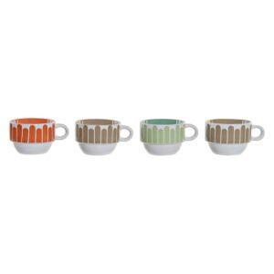 Conjunto de 4 Chávenas de Café DKD Home Decor Metal Grés