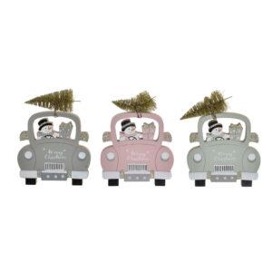 3 Figuras Decorativas DKD Home Decor Madeira Carro  (15 x 2 x 19 cm)
