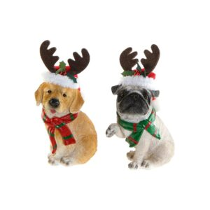 2 Figuras Decorativas DKD Home Decor Resina Cão (9.5 x 8 x 16.5 cm)