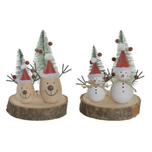 2 Figuras Decorativas DKD Home Decor Natal Madeira de paulónia (11 x 11 x 15 cm) (2 pcs)