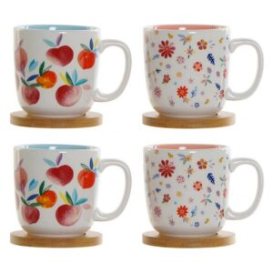 Conjunto de 4 Chávenas de Café DKD Home Decor Bambu Dolomite (180 ml)
