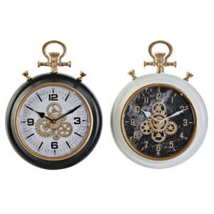 2 Relógios de Parede DKD Home Decor Branco Preto Cobre PVC Metal Engrenagens (30 x 8 x 40 cm)
