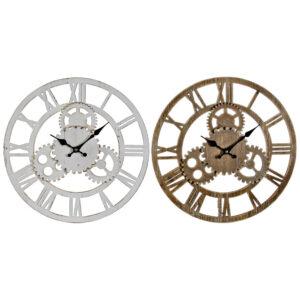 2 Relógios de Parede DKD Home Decor Branco Madeira MDF Engrenagens  (40 x 4 x 40 cm)