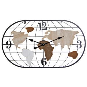 Relógio de Parede DKD Home Decor Castanho Preto Metal Madeira MDF Mapa do Mundo (80 x 4 x 46 cm)