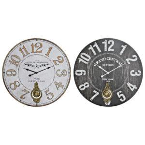 2 Relógios de Parede DKD Home Decor Branco Preto Metal Madeira MDF Marrom claro  (58 x 4 x 58 cm)