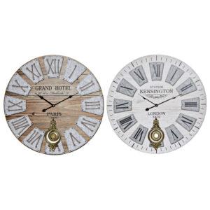 2 Relógios de Parede DKD Home Decor Grand Hotel Metal Madeira MDF (58 x 4 x 58 cm)