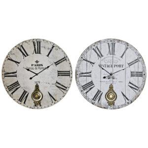 2 Relógio de Parede DKD Home Decor Branco Preto Bege Metal Madeira MDF  (58 x 4 x 58 cm)