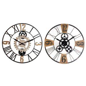 2 Relógios de Parede DKD Home Decor Preto Cinzento Metal Madeira MDF Engrenagens  (60 x 5 x 60 cm)