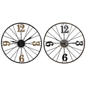 2 Relógio de Parede DKD Home Decor Preto Metal Madeira MDF  (60 x 4 x 60 cm)