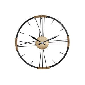 Relógio de Parede DKD Home Decor Preto Metal Corda Cinzento Escuro (60 x 4 x 60 cm)