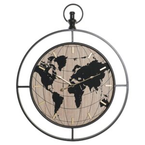 Relógio de Parede DKD Home Decor Ferro Madeira MDF Mapa do Mundo (60 x 4.5 x 74 cm)