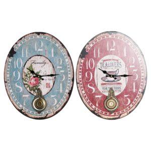 2 Relógios de Parede DKD Home Decor Pêndulo Ferro Madeira MDF (32 x 5 x 40 cm)